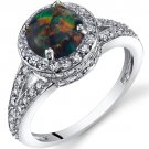 Sterling Silver Black Opal 1.00 Carat Halo Ring
