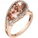 14K Rose Gold 4.25 Carat Pear Shape Morganite Ring