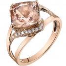 14K Rose Gold 3.00 Carat Cushion Cut Morganite Ring