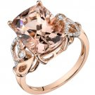 14K Rose Gold 7.00 Carat Radiant Cut Morganite Ring