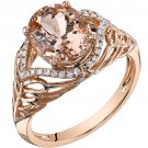 14K Rose Gold 2.50 Carat Oval Shape Morganite & Diamond Ring