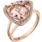 14K Rose Gold 5.50 Carat Trillion Cut Morganite Ring