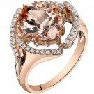 14K Rose Gold 3.75 Carat Morganite & Diamond Ring