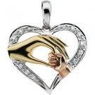 14K Tri Color Gold Tender Touch Diamond Heart Pendant