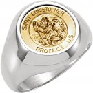 Sterling Silver & 14K Yellow Gold St Christopher Medal Ring