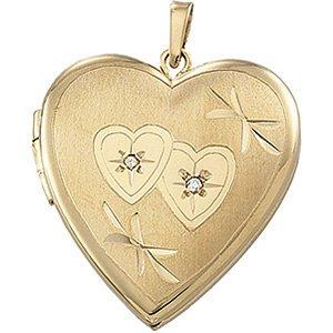 14K Gold Heart Locket with Diamonds