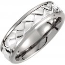 Titanium & Sterling Silver Inlay Woven Band
