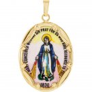 14K Yellow Gold Miraculous Hand-Painted Porcelain Medal
