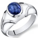Sterling Silver 3.4 Cts Sapphire Ring