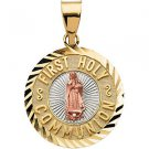 14K Tri-Color Gold First Holy Communion Medal
