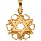14K Yellow Gold Heart Framed Star of David Pendant