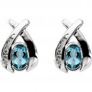 14K White Gold Contemporary Style Aquamarine & Diamond Earrings
