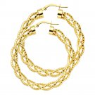 14K Yellow or 14K White Gold Twisted Hoop Earrings