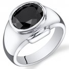 Men's Sterling Silver 6.5 Carats Black Onyx Ring