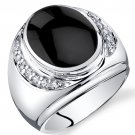 Men's Sterling Silver Onyx Godfather Ring