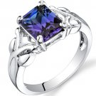 Sterling Silver 2.75 Carats Alexandrite Radiant Cut Ring