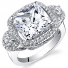 Sterling Silver 3.06 Carats Cubic Zirconia Cushion Shape Ring