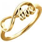 "14K Gold ""Love"" Infinity Inspired Ring"