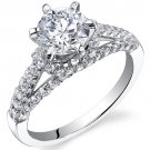 Sterling Silver 1.54 Carats CZ Engagement Ring