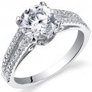 Sterling Silver 2.04 Carat Round Shape CZ Engagement Ring