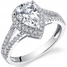 Sterling Silver 2.33 Carats Pear Shape Engagement Ring