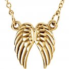 14K Gold Angel Wings Necklace in Yellow, White or Rose Gold