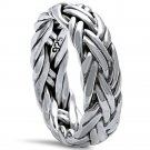 Sterling Silver Men's Plain Braided Band