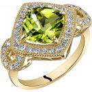 14K Yellow Gold 2.50 Carats Cushion Cut Peridot Ring