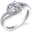 Sterling Silver 1.54 Carat Round Shape Cubic Zirconia Ring