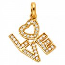 """14K Gold Cubic Zirconia """"LOVE"""" Pendant in 14K Yellow or White Gold"""
