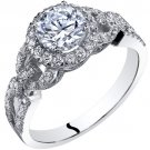14K White Gold 1.50 Carats Simulated Diamond Engagement Ring
