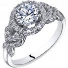 14K White Gold 1.30 Carats Simulated Diamond Halo Style Engagement Ring