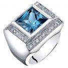 Men's Sterling Silver 5 Carat London Blue Topaz Princess Cut Ring