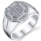 Men's Sterling Silver 1.23 Carats Cubic Zirconia Ring