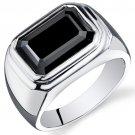 Men's Sterling Silver 7 Carat Rectangular Shape Black Onyx Ring
