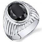 Men's Sterling Silver 7 Carat Onyx Ring