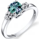 14K White Gold 1 Carat Created Alexandrite & Diamond Ring