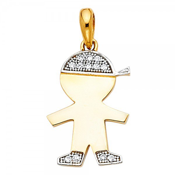 14K Yellow or White Gold Little Boy Charm Pendant