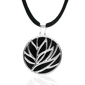 Sterling Silver Onyx Floral Inspired Necklace