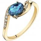 14K Yellow Gold 1 Carat Created Alexandrite Bypass Ring