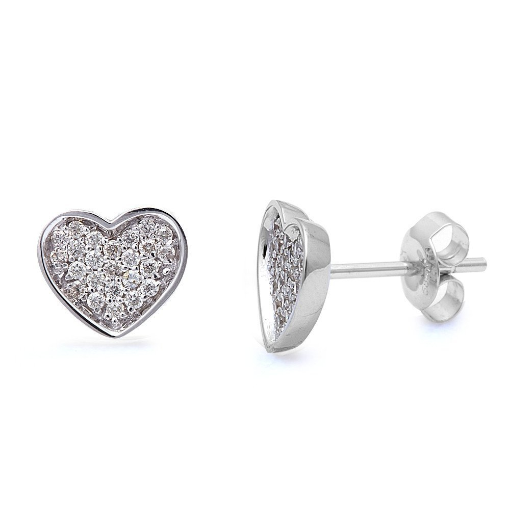14K White Gold .30 Ct Heart Shaped Diamond Stud Earrings