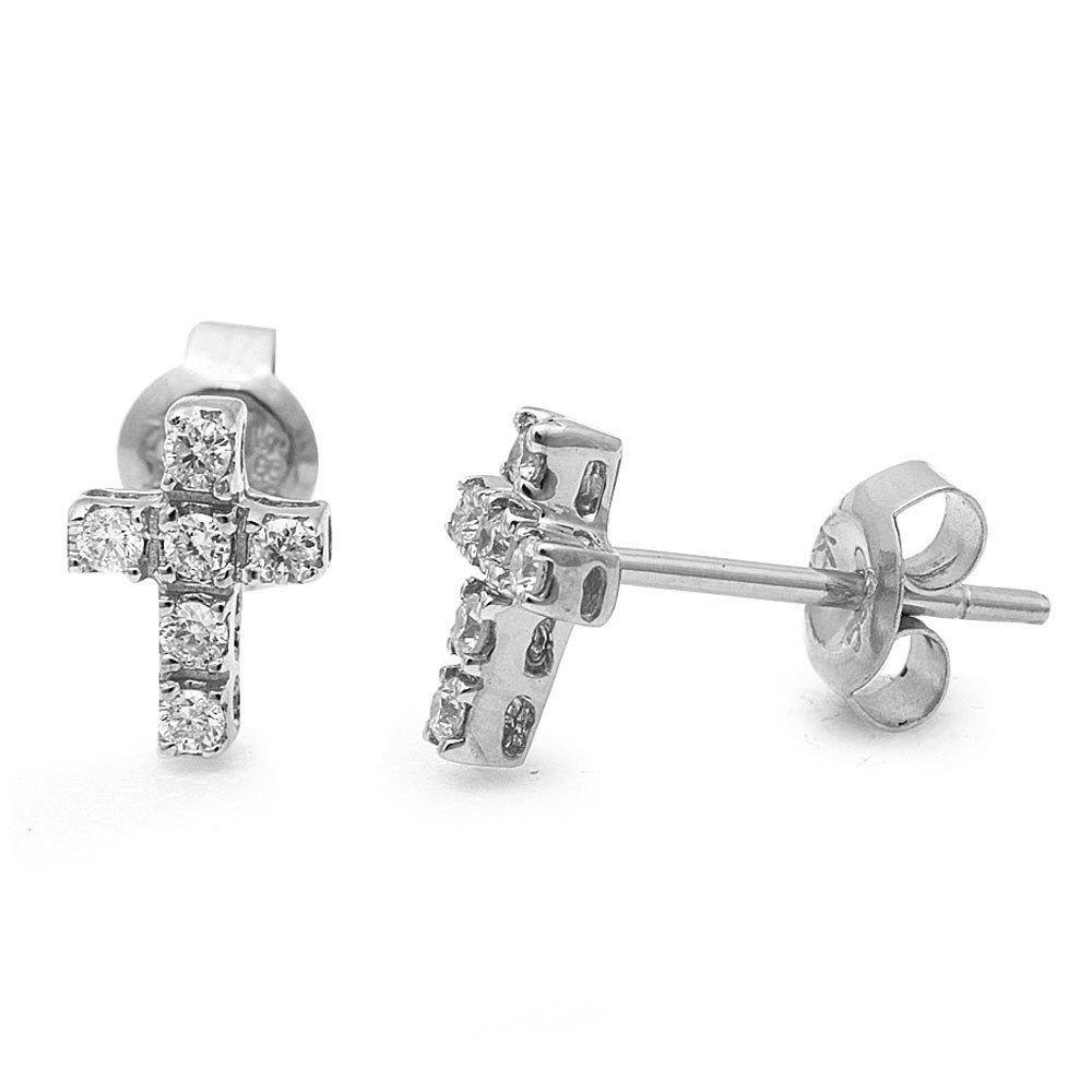 14K White Gold .15 Ct Round Diamond Cross Stud Earrings