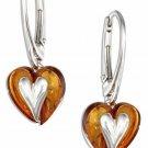 Sterling Silver Honey Amber Silver Heart Earrings