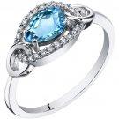 14K White Gold 0.75 Carat Swiss Blue Topaz Link Ring