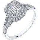 14K White Gold Emerald Cut Cubic Zirconia Engagement Ring