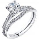 14K White Gold Classic Engagement Ring & Bridal Band Set