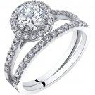 14K White Gold Halo Engagement Ring & Wedding Band Bridal Set