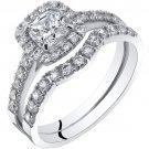 14K White Gold Cushion Cut Engagement Ring & Wedding Band Bridal Set