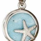 Sterling Silver Round Starfish Larimar Pendant