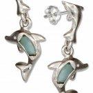 Sterling Silver Larimar Dolphin Dangle Earrings